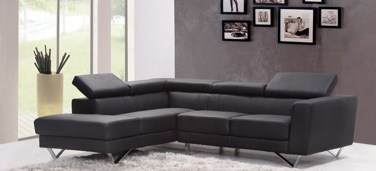 A leather couch and some photos