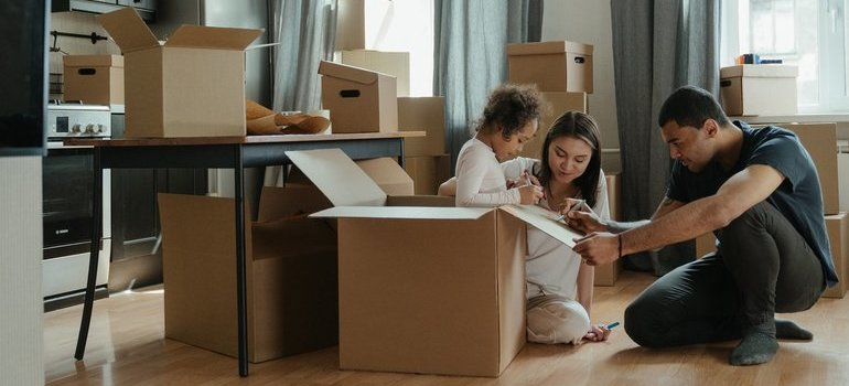 A family after hiring one of the moving companies from Florida to New Jersey
