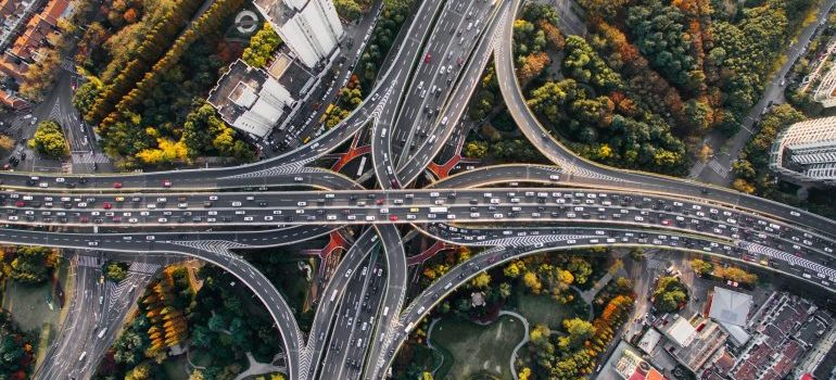 aerial image of a highway