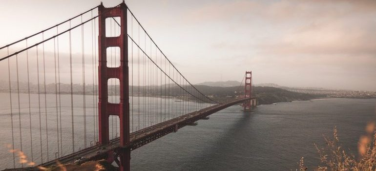 An aerial view of the Golden Gate Bridge.