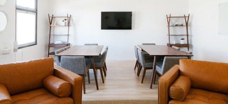 An interior design of a modern office.