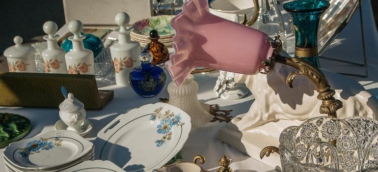 fragile items on a yard sale