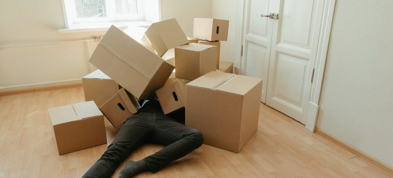 Man covered with empty cardboard boxes. - last-minute move from Boynton Beach
